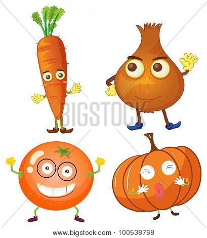 Vegetables with happy face illustration
