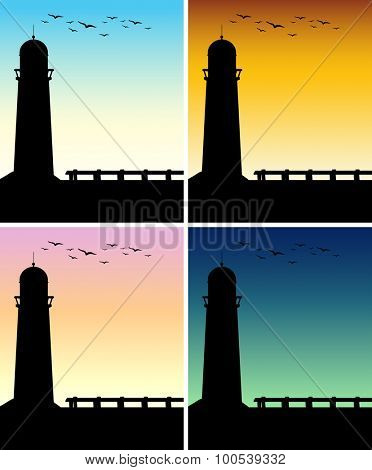 Silhouette lighthouse with different time of day illustration