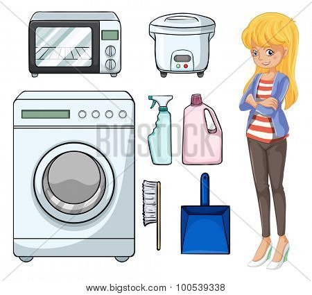 Woman and household objects illustration