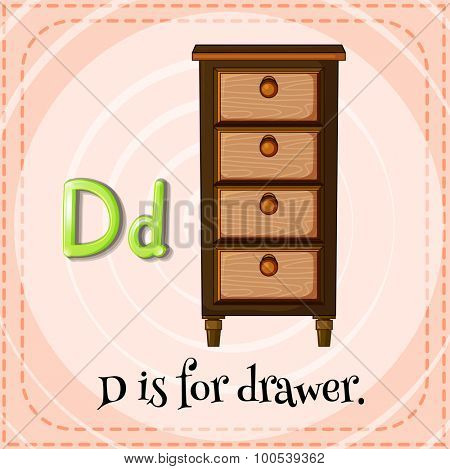 Flashcard letter D is for drawer illustration