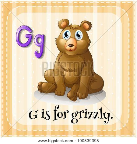 Flashcard letter G is for grizzly illustration