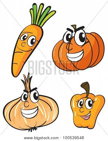 Vegetables with facial expressions illustration