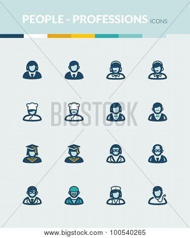 People  Colorful Flat Icons. Professions And Roles