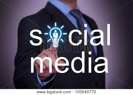 Social Media Word Human Resource on Touch Screen