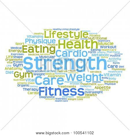 Vector concept or conceptual abstract health diet or sport word cloud or wordcloud isolated on white background