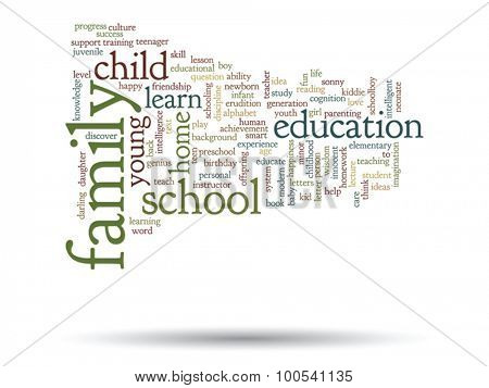Vector concept or conceptual child education or family abstract word cloud isolated on background