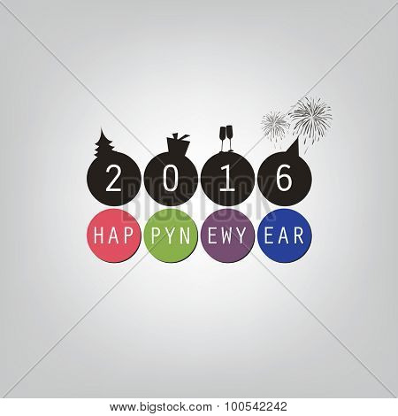 Best Wishes - Happy New Year Card or Cover Background Template - 2016