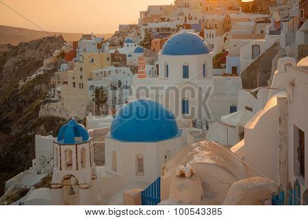 Sunset Scene In Oia, Santorini