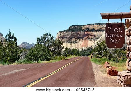 Sign near the East Entrance on Zion-Mount Carmel Highway into Zion National Park, Utah.