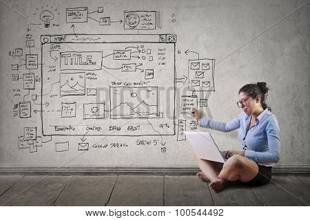 Woman working on businessplans