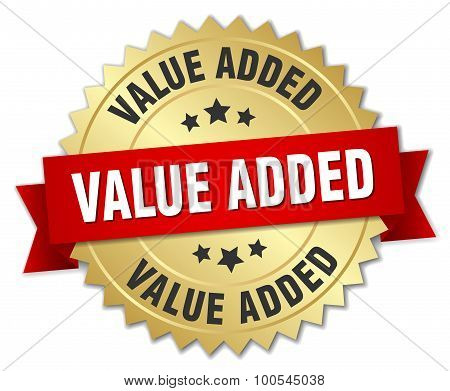 Value Added 3D Gold Badge With Red Ribbon
