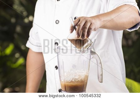 Chef Putting Coffee To Blender