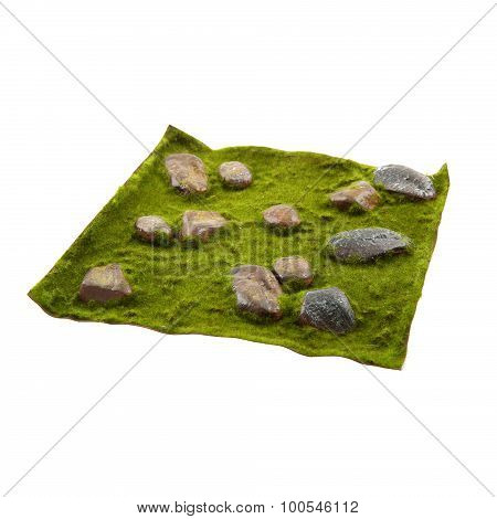 Grass mat with stones