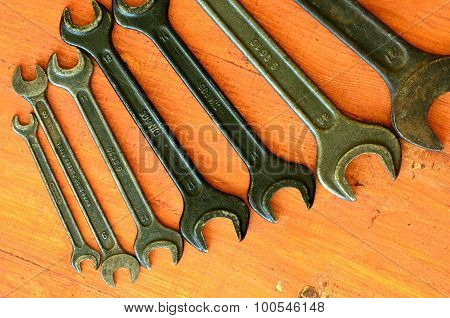 Set of wrenches. Do it yourself theme.