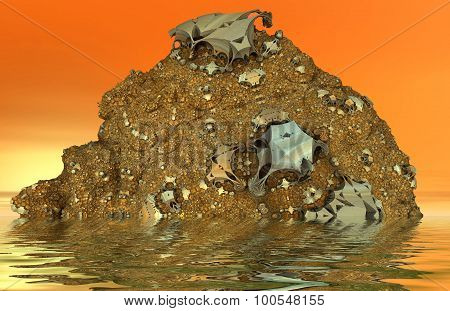 Magma hill in water