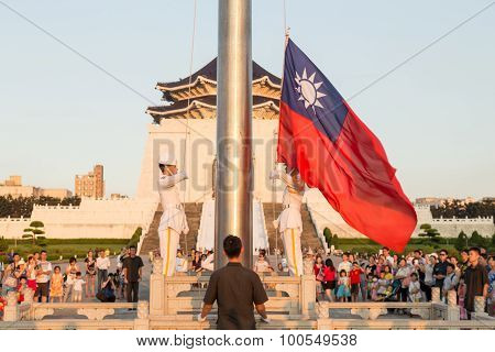 The Honor Guard Performing Daily Taiwanese Flag Lowering Ceremony In Liberty Square, Taipei