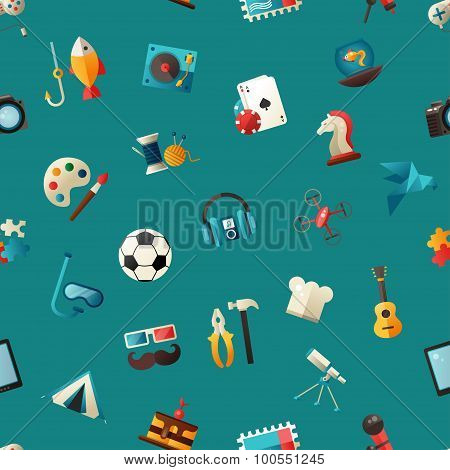 Pattern of modern flat design hobby icons and infographicselements set for your website
