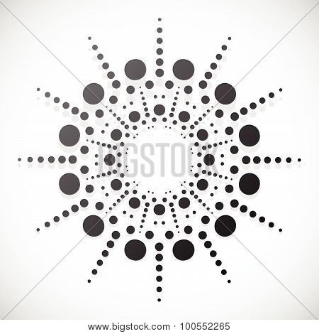 Concentric Dots, Circles. Dotted Abstract Element, Abstract Pattern On White. Vector Illustration.