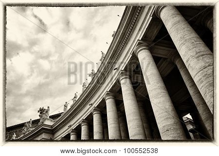 Colonnades That Surround St. Peter's Square In Rome With Many Statues. Old Vintage Sepia Processing