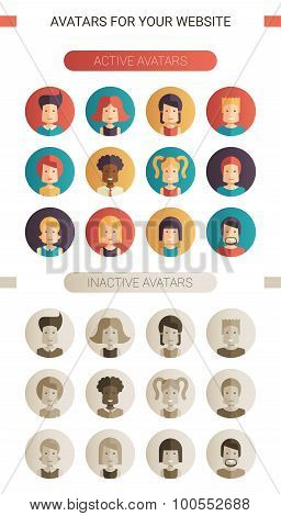 Set of isolated flat design people icon avatars for social network and your design. Active, inactive
