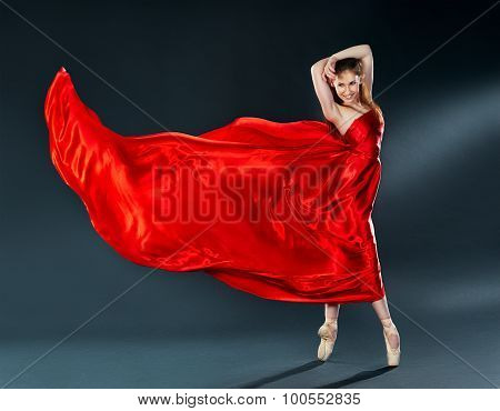 Beautiful Dancer Ballerina Dancing A Long Red Dress Flying
