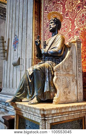 Statue Of Apostle St. Peter In St. Peter's Basilica In The Vatican