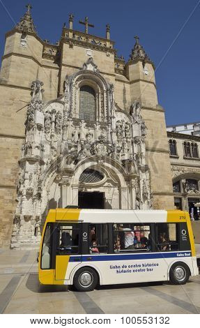 Bus In Front Of Church In Coimbra