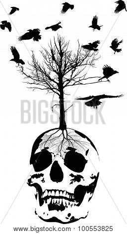 illustration with skull and tree isolated on white background