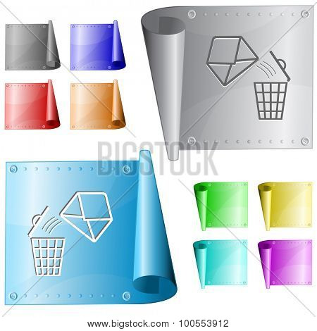 open mail with bin. Vector metal surface.