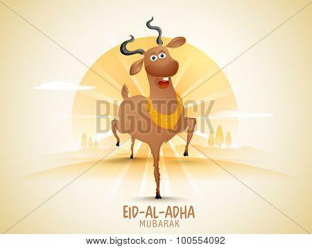 Illustration of a happy goat on rays background for Muslim community Festival of Sacrifice, Eid-Al-Adha celebration.
