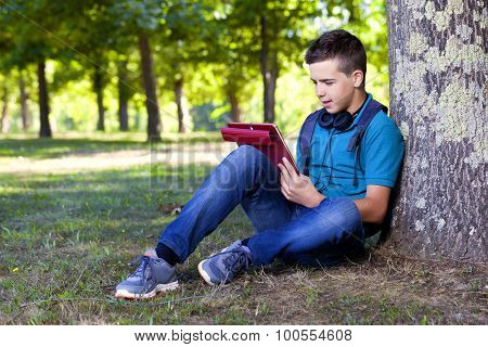 Smart boy using a tablet outdoors