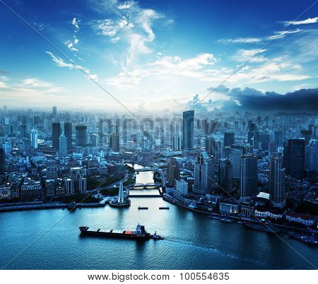 skyline of Shanghai at sunset, China