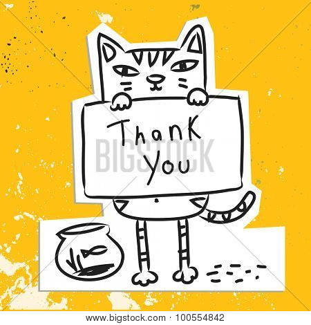 Cute cat holding a placard. Thank you card, cartoon doodle style vector drawing.