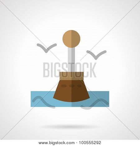 Seascape with buoy flat vector icon