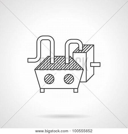 Chocolate processing equipment line vector icon