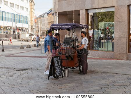 Coffee Brothers Bicycle Cart In Bratislava, Slovakia
