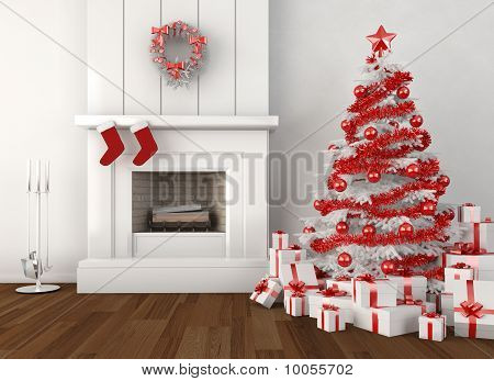 Christmas Fireplace White And Red