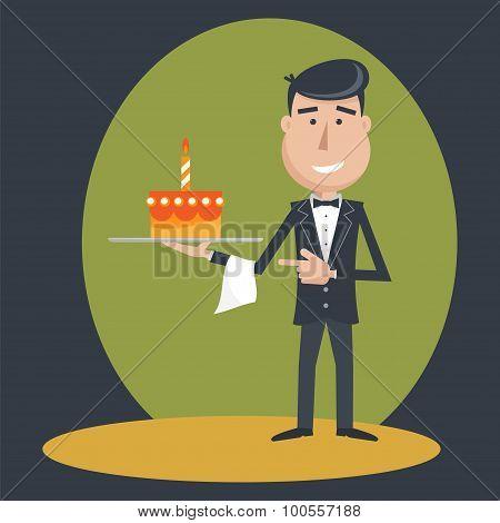 Waiter With  Birthday Cake .