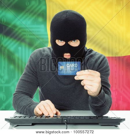Concept Of Cybercrime With National Flag On Background - Benin