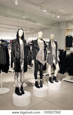 Mannequins dressed in edgy fashion style clothes