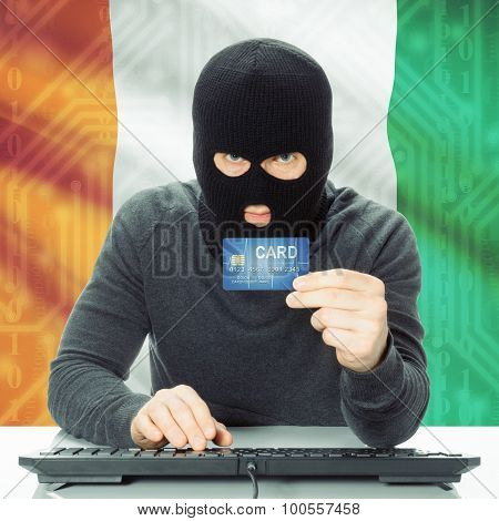 Concept Of Cybercrime With National Flag On Background - Ivory Coast