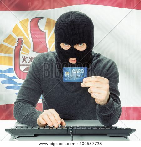 Concept Of Cybercrime With National Flag On Background - French Polynesia