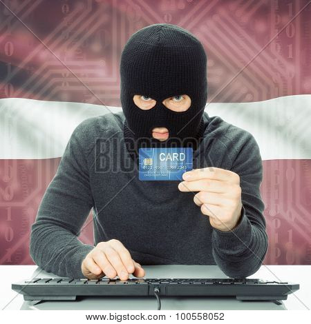 Concept Of Cybercrime With National Flag On Background - Latvia