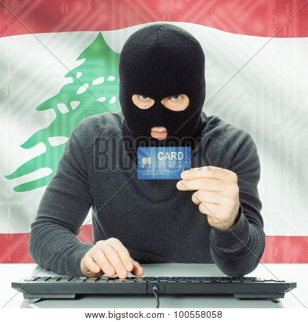 Concept Of Cybercrime With National Flag On Background - Lebanon