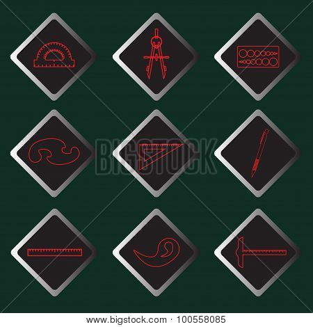 Set vector red icons of drawing accessories