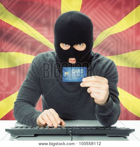 Concept Of Cybercrime With National Flag On Background - Macedonia