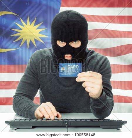 Concept Of Cybercrime With National Flag On Background - Malaysia