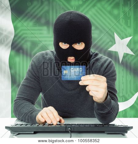 Concept Of Cybercrime With National Flag On Background - Pakistan