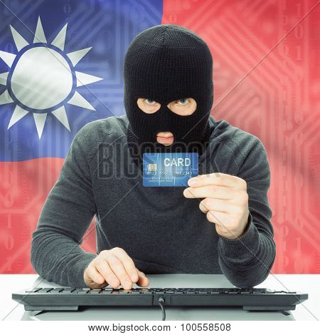 Concept Of Cybercrime With National Flag On Background - Taiwan