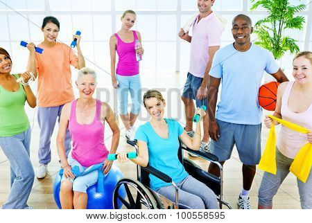 Group  Healthy People Fitness Exercise Unity Concept